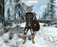 Khajiit TES_Morrowind TES_Skyrim armor artist:Geravind character:your_weird_OC claws inconsistent_rendering knock_off screenshot text